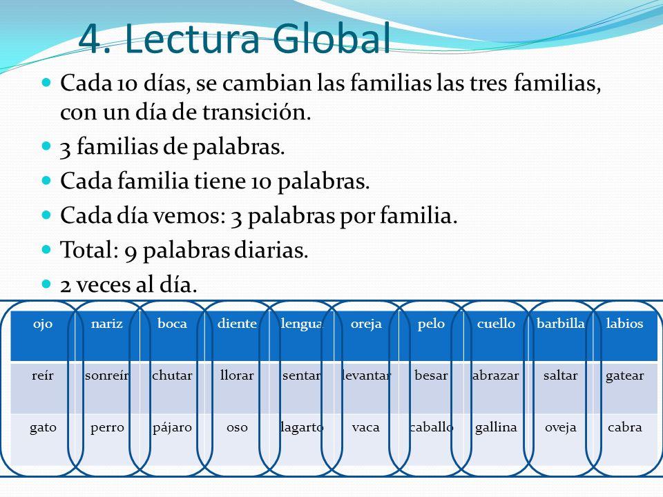 4. Lectura Global Cada 10 días, se cambian las familias las tres familias, con un día de transición.