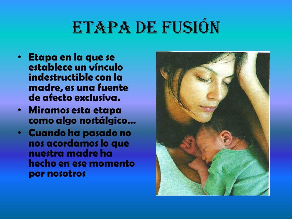 Etapa de Fusión Etapa en la que se establece un vínculo indestructible con la madre, es una fuente de afecto exclusiva.