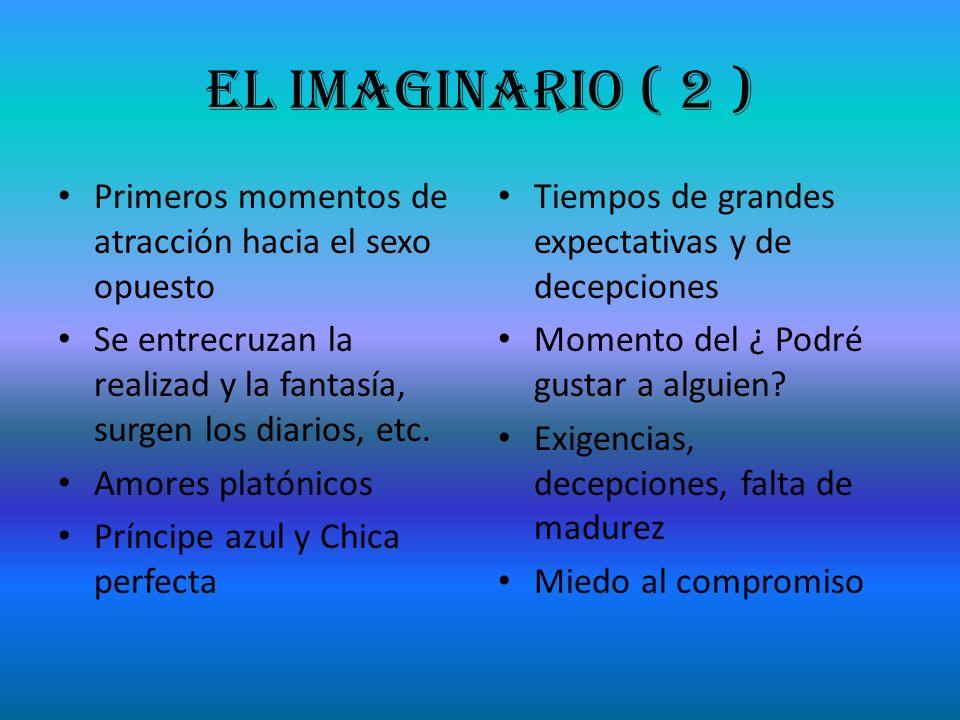 El Imaginario ( 2 ) Primeros momentos de atracción hacia el sexo opuesto. Se entrecruzan la realizad y la fantasía, surgen los diarios, etc.