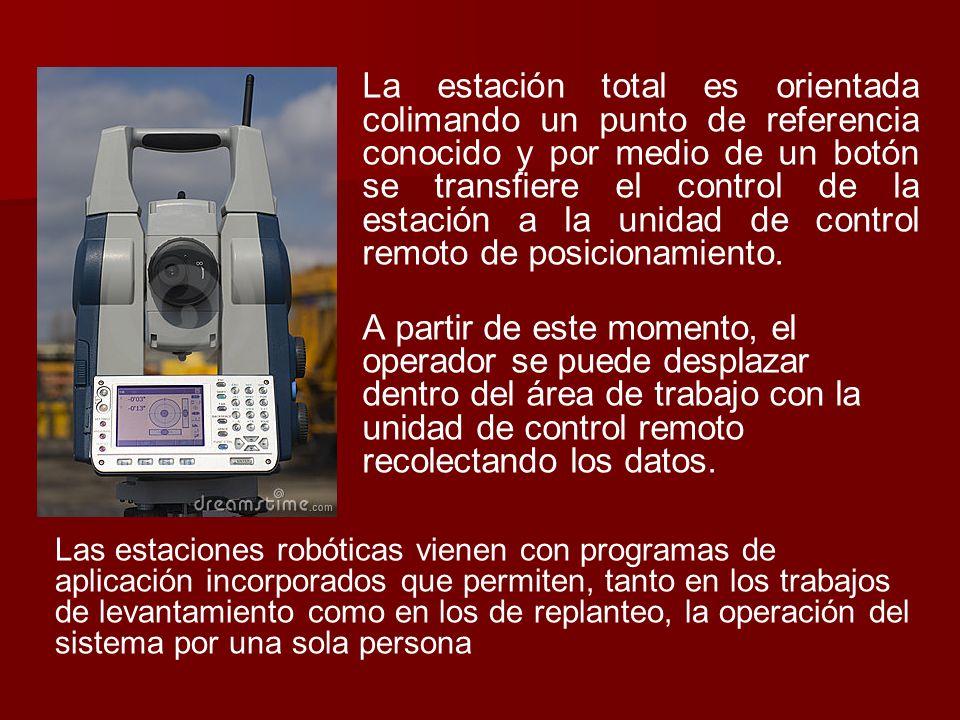 La estación total es orientada colimando un punto de referencia conocido y por medio de un botón se transfiere el control de la estación a la unidad de control remoto de posicionamiento.