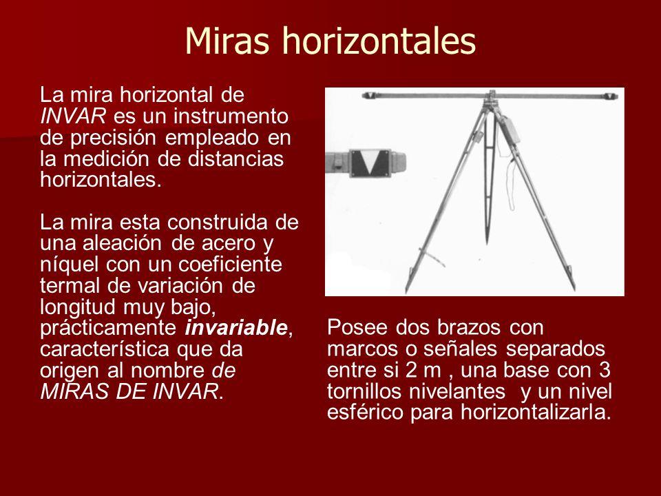 Miras horizontales La mira horizontal de INVAR es un instrumento de precisión empleado en la medición de distancias horizontales.