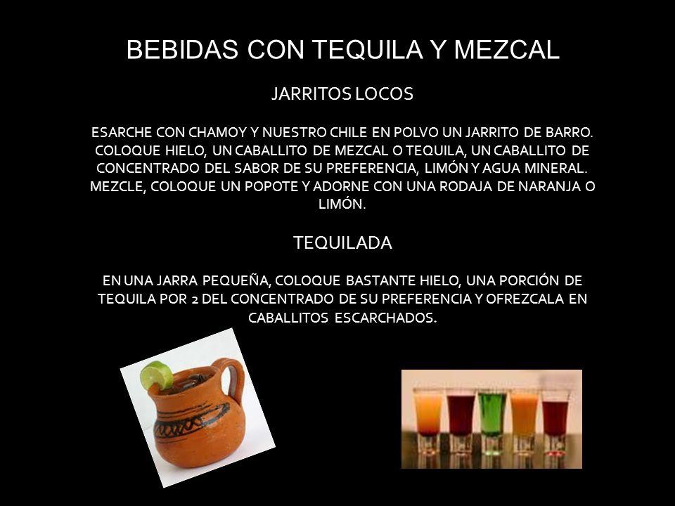 BEBIDAS CON TEQUILA Y MEZCAL