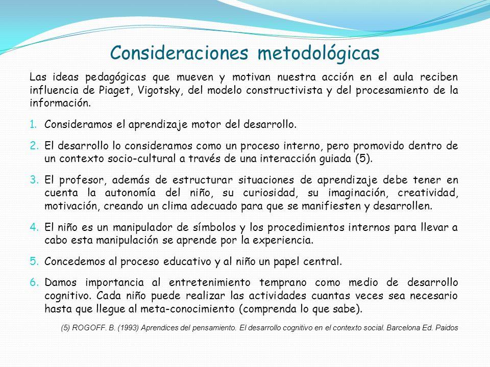 Consideraciones metodológicas