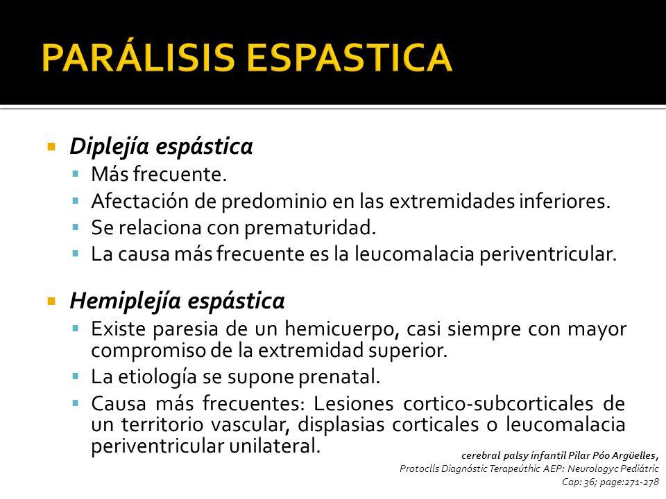 PARÁLISIS ESPASTICA Diplejía espástica Hemiplejía espástica
