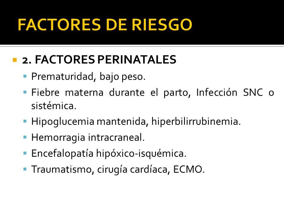 FACTORES DE RIESGO 2. FACTORES PERINATALES Prematuridad, bajo peso.