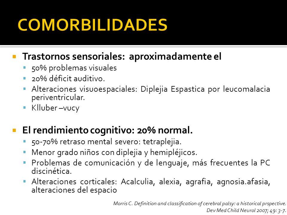 COMORBILIDADES Trastornos sensoriales: aproximadamente el