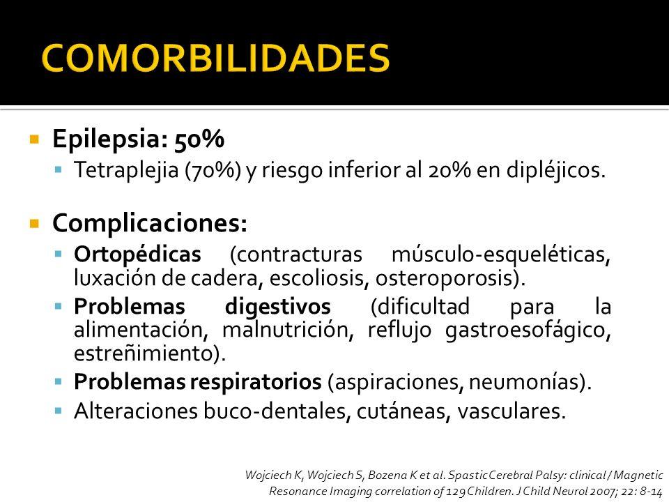 COMORBILIDADES Epilepsia: 50% Complicaciones: