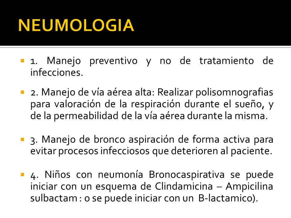 NEUMOLOGIA 1. Manejo preventivo y no de tratamiento de infecciones.