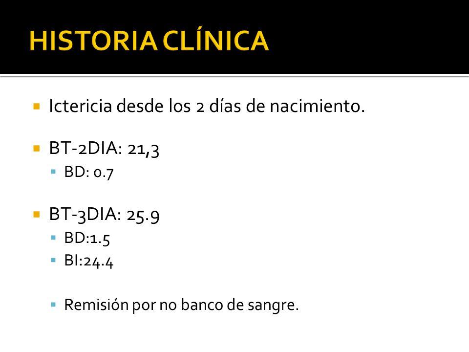 HISTORIA CLÍNICA Ictericia desde los 2 días de nacimiento.