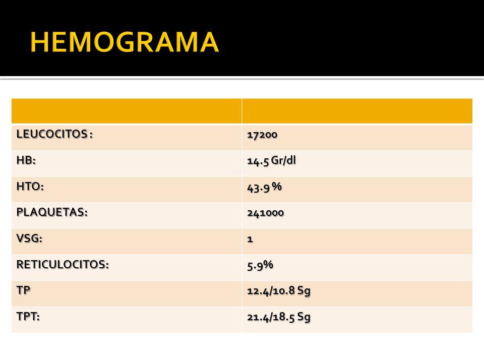 HEMOGRAMA LEUCOCITOS : 17200 HB: 14.5 Gr/dl HTO: 43.9 % PLAQUETAS: