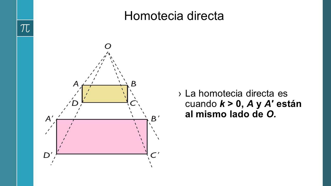Homotecia directa La homotecia directa es cuando k > 0, A y A′ están al mismo lado de O.