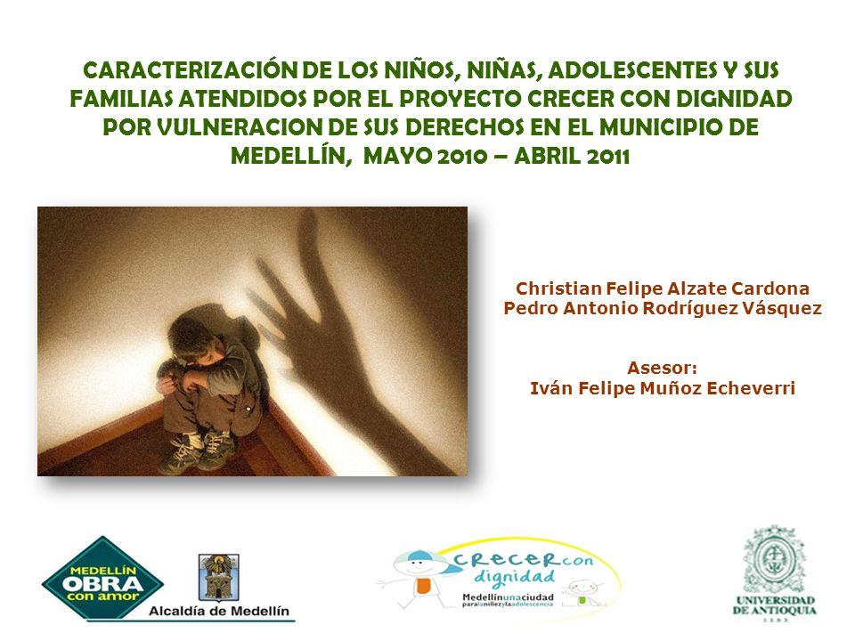 CARACTERIZACIÓN DE LOS NIÑOS, NIÑAS, ADOLESCENTES Y SUS FAMILIAS ATENDIDOS POR EL PROYECTO CRECER CON DIGNIDAD POR VULNERACION DE SUS DERECHOS EN EL MUNICIPIO DE MEDELLÍN, MAYO 2010 – ABRIL 2011
