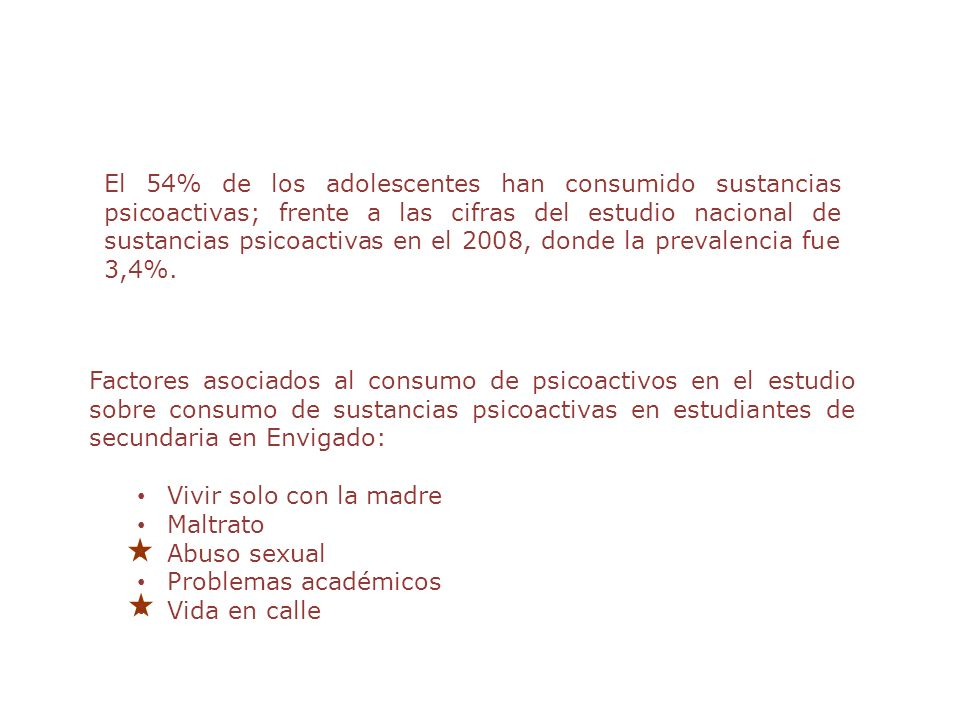 El 54% de los adolescentes han consumido sustancias psicoactivas; frente a las cifras del estudio nacional de sustancias psicoactivas en el 2008, donde la prevalencia fue 3,4%.