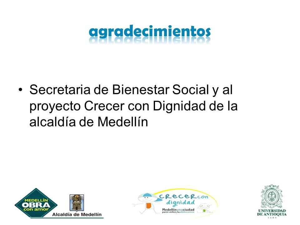 agradecimientos Secretaria de Bienestar Social y al proyecto Crecer con Dignidad de la alcaldía de Medellín.