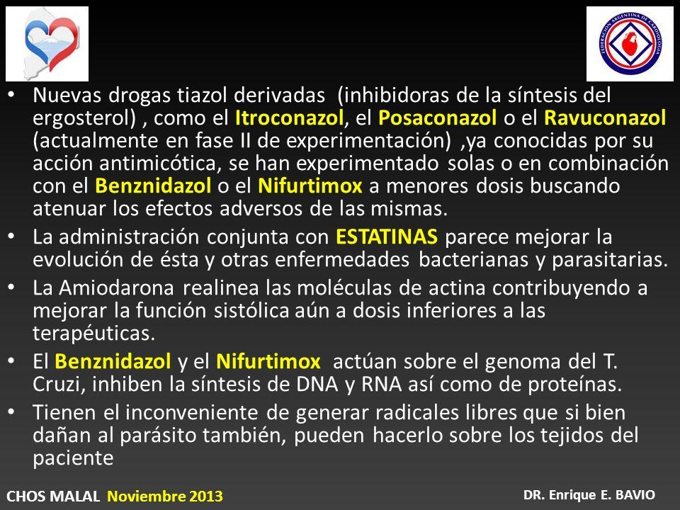 Nuevas drogas tiazol derivadas (inhibidoras de la síntesis del ergosterol) , como el Itroconazol, el Posaconazol o el Ravuconazol (actualmente en fase II de experimentación) ,ya conocidas por su acción antimicótica, se han experimentado solas o en combinación con el Benznidazol o el Nifurtimox a menores dosis buscando atenuar los efectos adversos de las mismas.