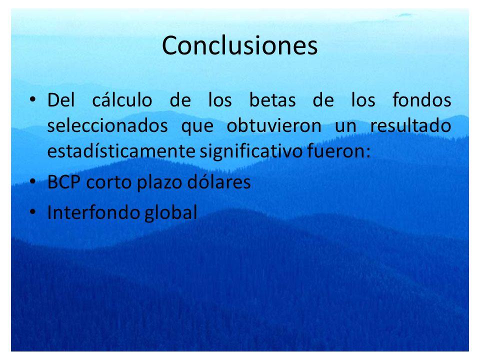 Conclusiones Del cálculo de los betas de los fondos seleccionados que obtuvieron un resultado estadísticamente significativo fueron: