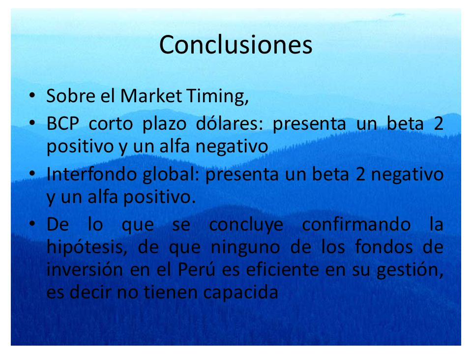 Conclusiones Sobre el Market Timing,