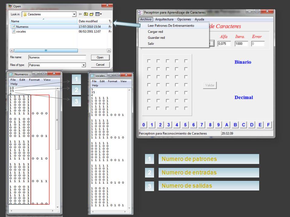 1 2 3 1 Numero de patrones 2 Numero de entradas 3 Numero de salidas