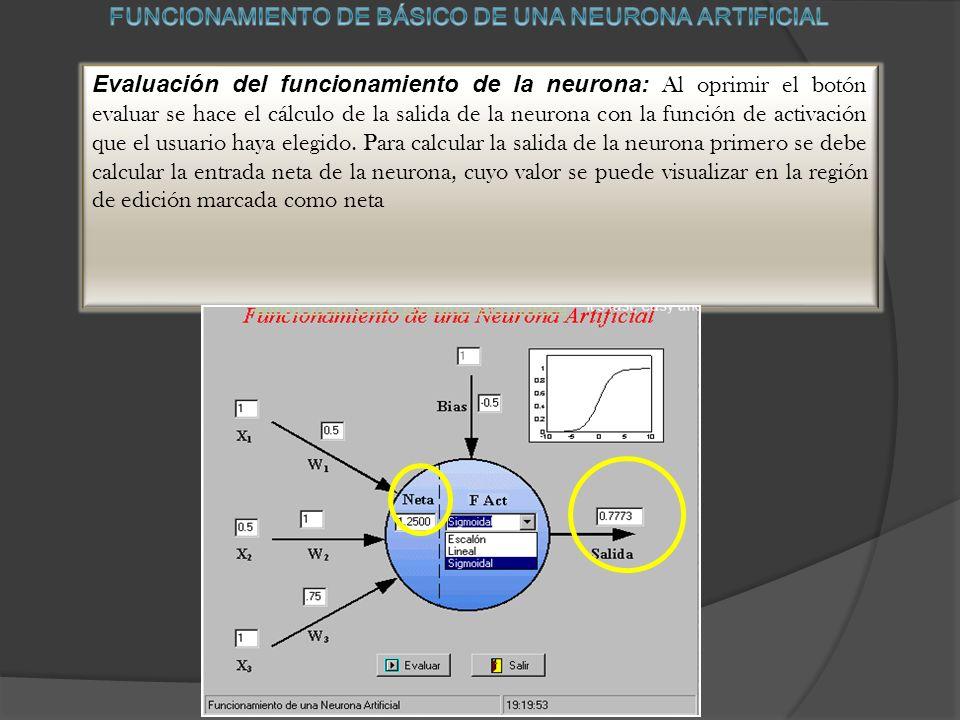 FUNCIONAMIENTO DE BÁSICO DE UNA NEURONA ARTIFICIAL