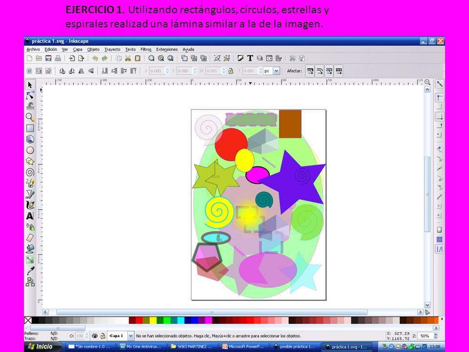 EJERCICIO 1. Utilizando rectángulos, círculos, estrellas y espirales realizad una lámina similar a la de la imagen.