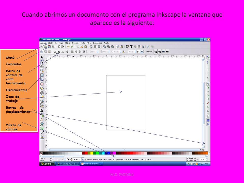 Cuando abrimos un documento con el programa Inkscape la ventana que aparece es la siguiente: