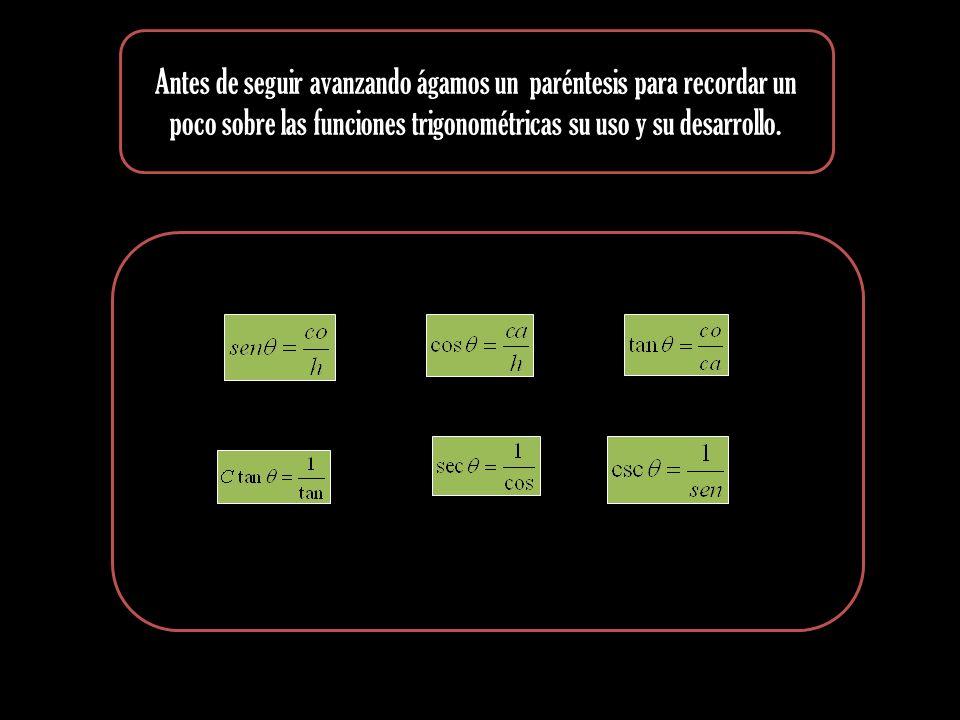 Antes de seguir avanzando ágamos un paréntesis para recordar un poco sobre las funciones trigonométricas su uso y su desarrollo.