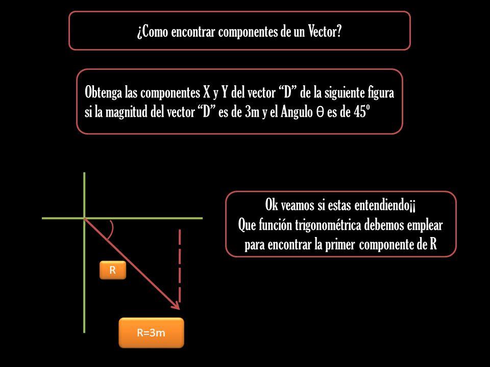 ¿Como encontrar componentes de un Vector