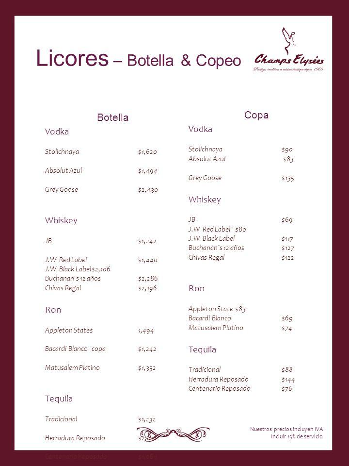 Licores – Botella & Copeo