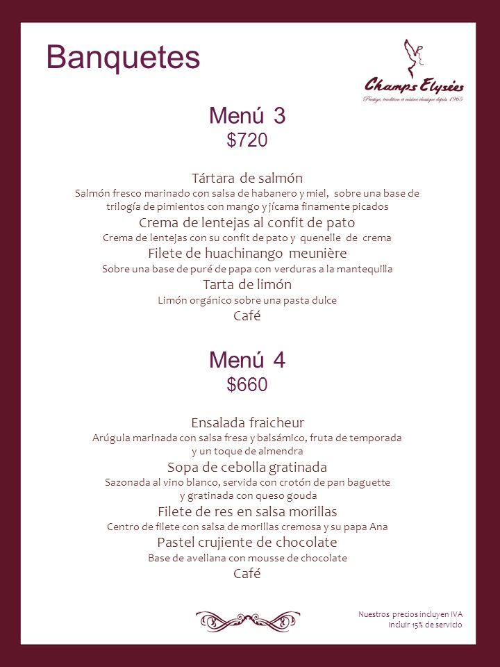 Banquetes Menú 3 Menú 4 $720 $660 Tártara de salmón