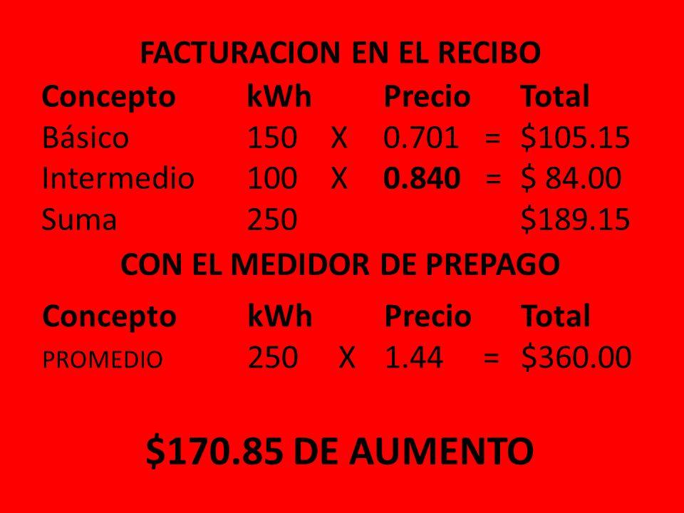 FACTURACION EN EL RECIBO