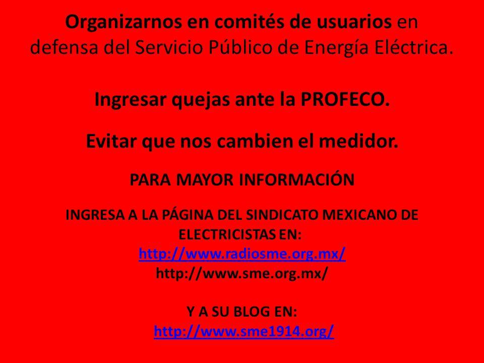 Organizarnos en comités de usuarios en defensa del Servicio Público de Energía Eléctrica.