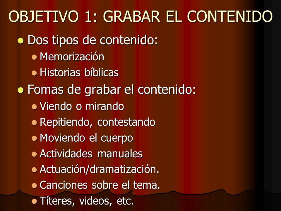 OBJETIVO 1: GRABAR EL CONTENIDO