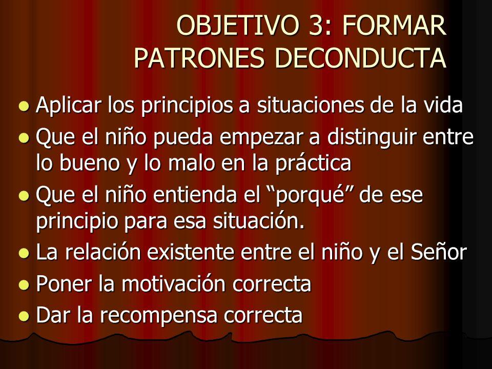 OBJETIVO 3: FORMAR PATRONES DECONDUCTA