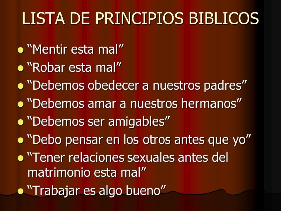 LISTA DE PRINCIPIOS BIBLICOS