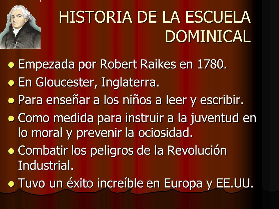 HISTORIA DE LA ESCUELA DOMINICAL