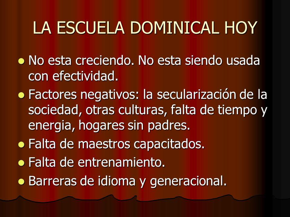 LA ESCUELA DOMINICAL HOY