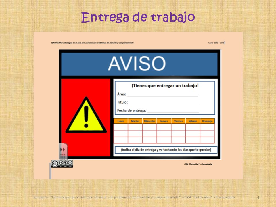 Entrega de trabajo Seminario: Estrategias en el aula con alumnos con problemas de atención y comportamiento - CRA Entreviñas - Fuensaldaña.