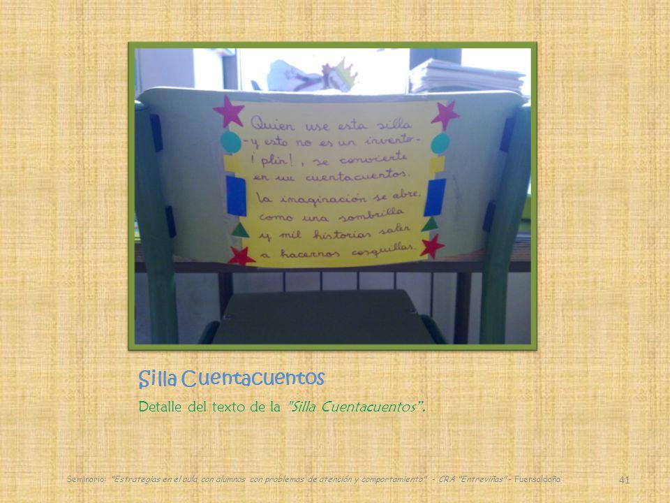 Silla Cuentacuentos Detalle del texto de la Silla Cuentacuentos .