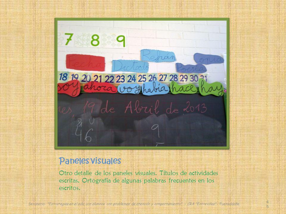 Paneles visuales Otro detalle de los paneles visuales. Títulos de actividades escritas. Ortografía de algunas palabras frecuentes en los escritos.