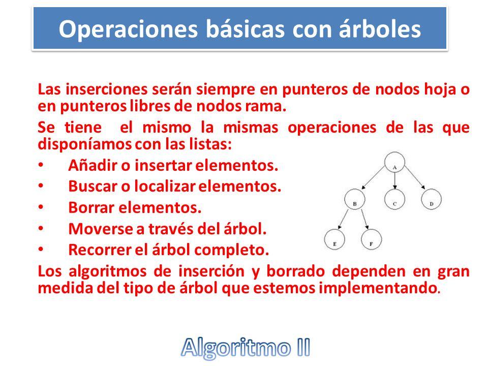Operaciones básicas con árboles