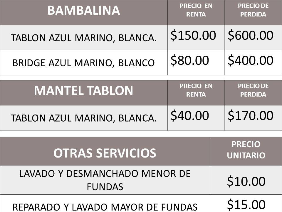 BAMBALINA MANTEL TABLON OTRAS SERVICIOS