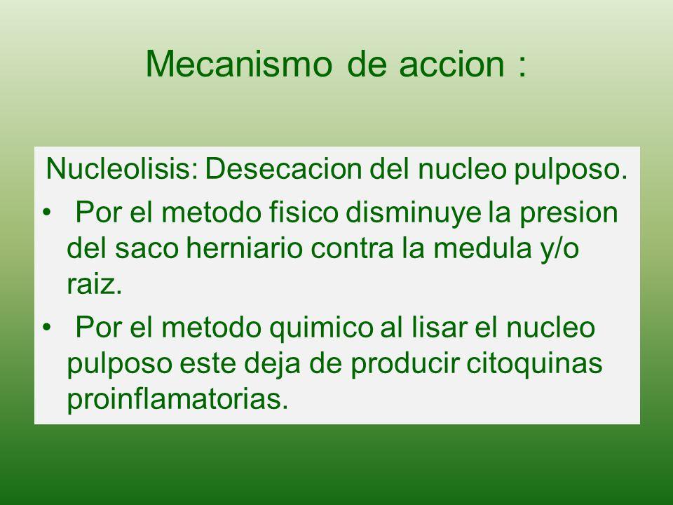 Nucleolisis: Desecacion del nucleo pulposo.