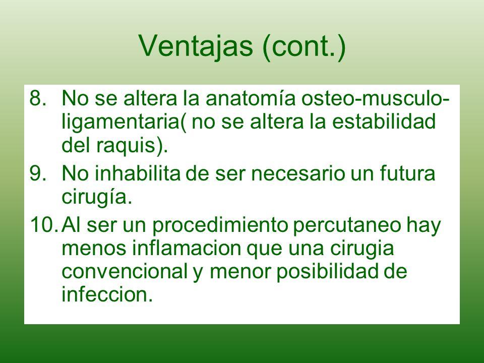 Ventajas (cont.)No se altera la anatomía osteo-musculo-ligamentaria( no se altera la estabilidad del raquis).