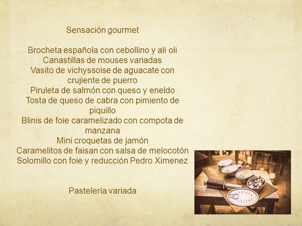 Brocheta española con cebollino y ali oli