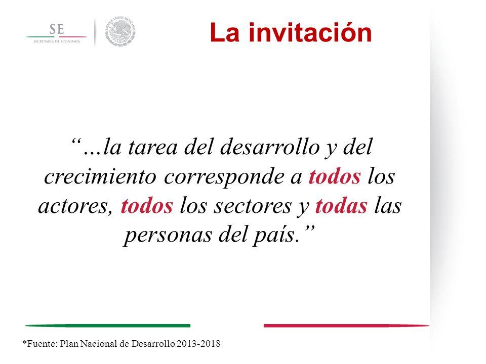 La invitación …la tarea del desarrollo y del crecimiento corresponde a todos los actores, todos los sectores y todas las personas del país.