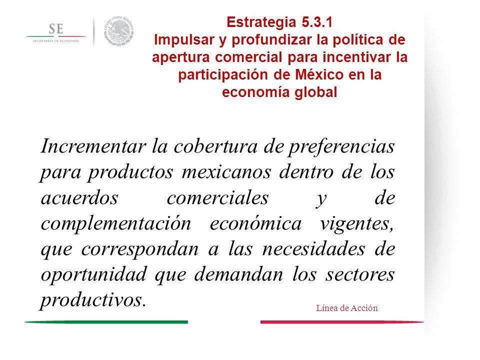Estrategia 5.3.1Impulsar y profundizar la política de apertura comercial para incentivar la participación de México en la economía global.