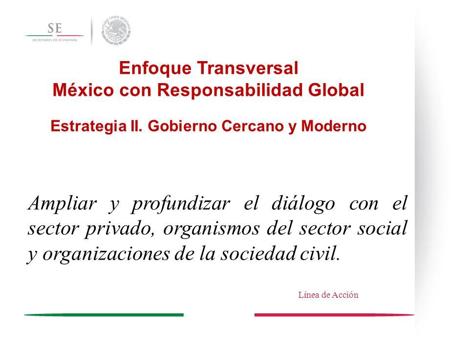 Enfoque Transversal México con Responsabilidad Global. Estrategia II. Gobierno Cercano y Moderno.