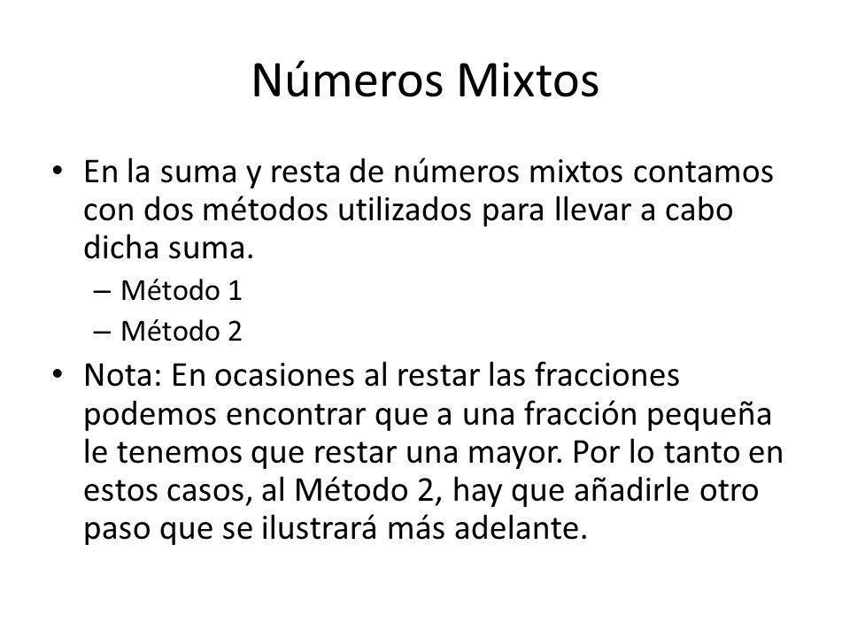 Números Mixtos En la suma y resta de números mixtos contamos con dos métodos utilizados para llevar a cabo dicha suma.