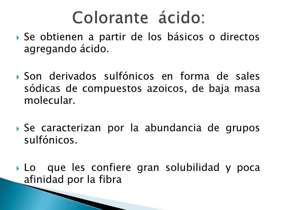 Colorante ácido: Se obtienen a partir de los básicos o directos agregando ácido.
