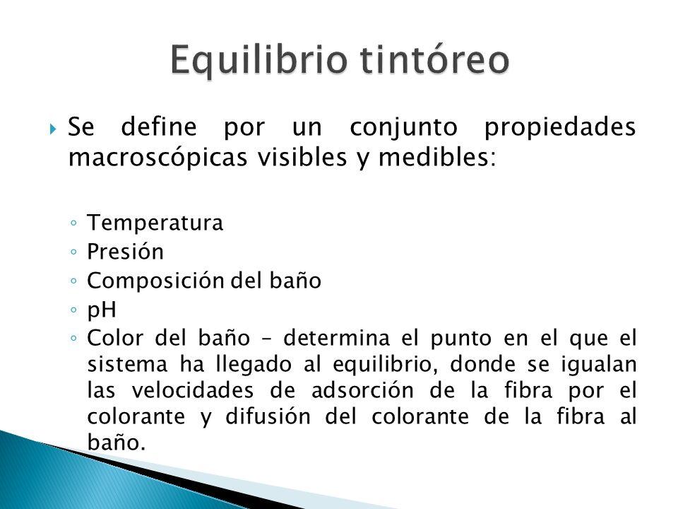 Equilibrio tintóreo Se define por un conjunto propiedades macroscópicas visibles y medibles: Temperatura.